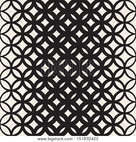 Vector Seamless Black and White Circle Lattice Pattern. Abstract Geometric Background Design