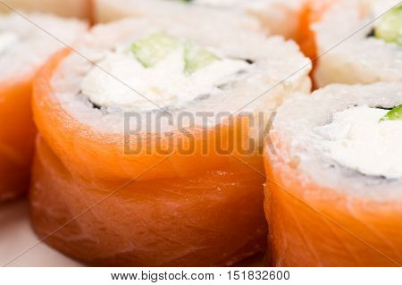 rolls with salmon from above close up