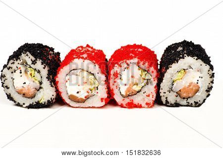 four delicious sushi rolls isolated on white