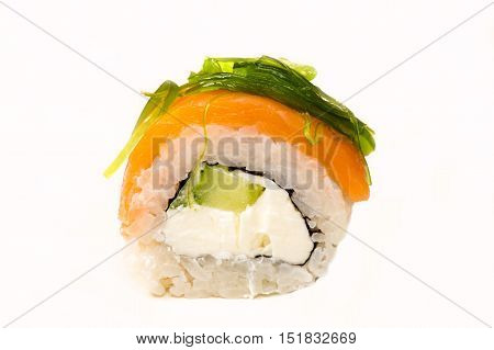 roll with seaweed closeup isolated on white