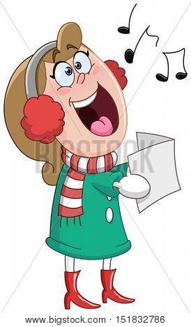 Woman singing Christmas carols
