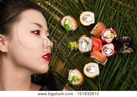 profile face beautiful young Korean girl with rolls