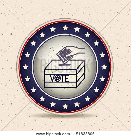 Paper and box inside button icon. Vote election and government theme. Isolated design. Vector illustration