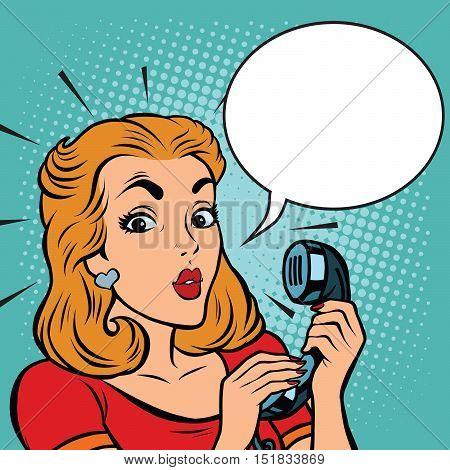 Comic girl talking on the phone, pop art comic illustration