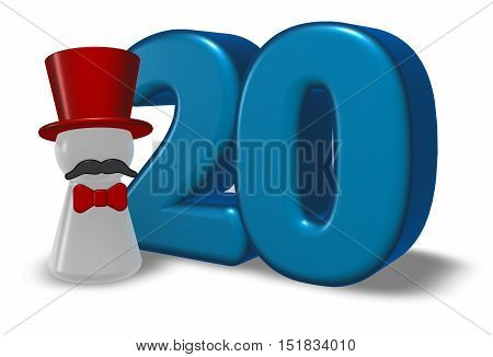 number twenty and pawn with hat and beard - 3d rendering