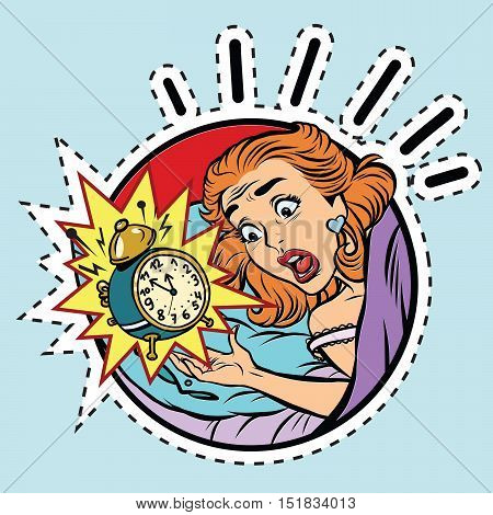 Comic girl woke up from the alarm, pop art comic illustration. Label sticker cutting contour