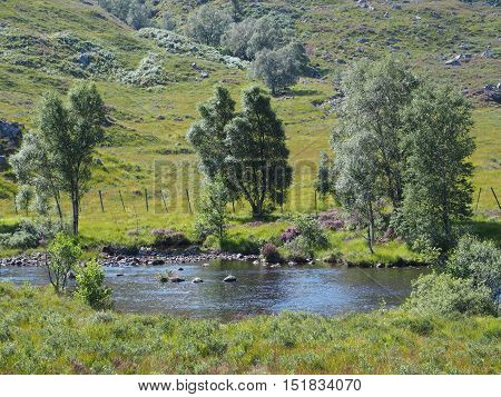 The beauty of riverside in Highlands, Scotland