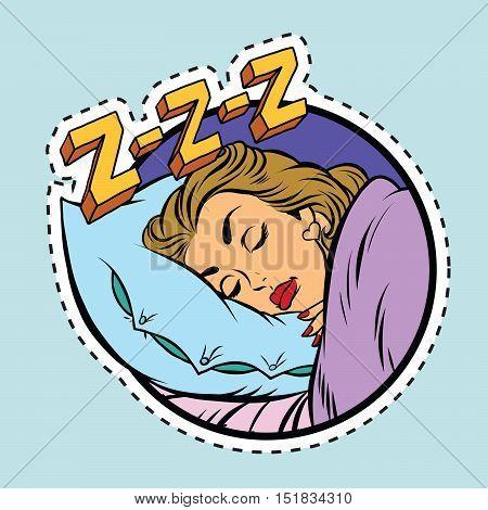 Comic girl sleeping in bed, pop art comic illustration. Label sticker cutting contour