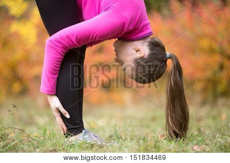 Close-up portrait of sporty beautiful young woman practicing yoga, doing uttanasana intense stretch pose, Standing forward bend or head to knees pose , working out outdoors on autumn day. Side view