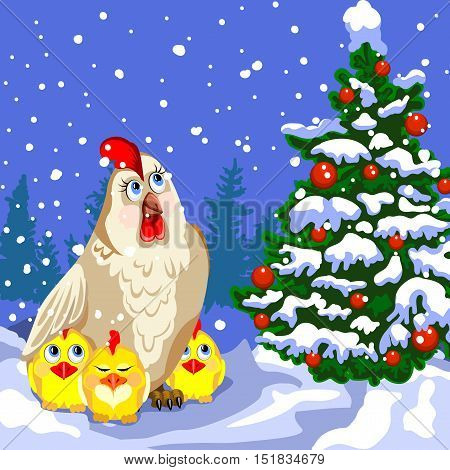 Hen and three chicken looking at the Christmas tree. Winter landscape snow. Christmas tree decorated with red balls. Christmas card.