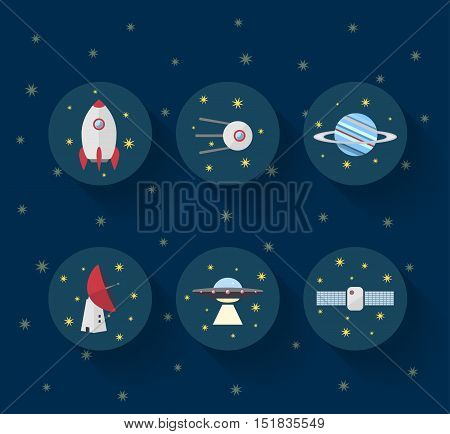 Rocket, satellite, planet, space telescope and UFO on dark blue background with yellow stars