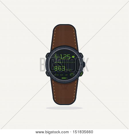 Digital wristwatch with leather band. Sport extreme watch concept for adventures with digital display and heart rate functions.