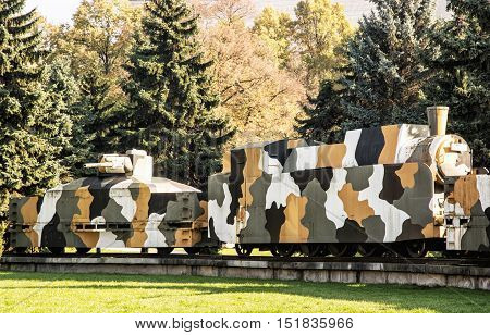 Replica of armored train Hurban now located near Zvolen castle in Zvolen city Slovak republic. World War II memorial. Theme of history. Symbolic object.