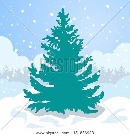 Christmas card. Green fir tree in the white snow drift. Winter snow is falling outside.