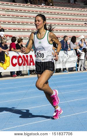 CAGLIARI, ITALY - November 4, 2012: 5th Half Marathon - 4th memorial Delio Serra - Sardinia - portrait of an athlete at the end of the sporting event