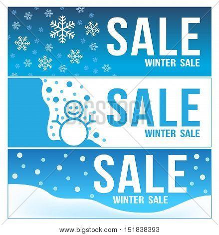 blue winter sale banner . 3 winter sale vector . snow