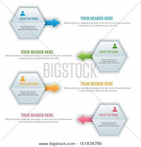 Modern Design infographic style template on white background with numbered 3d effect hexsagon. Vector illustration EPS 10 for new product newsletters web banners pages presentation