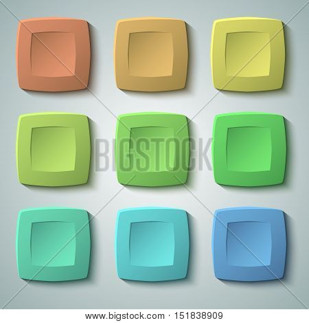 Set of blank colors buttons for website or app. Vector eps10 matte plastic texture with glow effect design and squares shape elements backdrop banner concave dent.