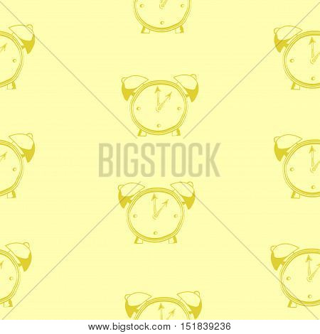 Pattern of outline artwork of ringing alarm clock with lightnings above it