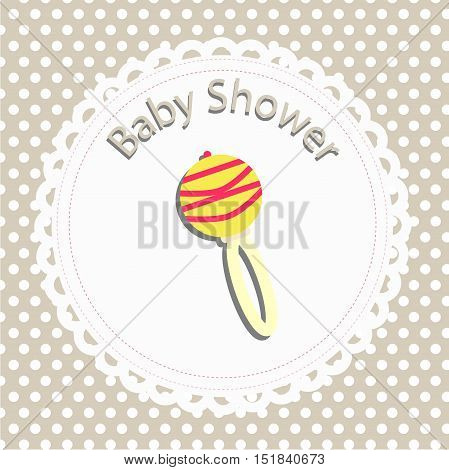 icon baby rattle. card template for design and decoration. baby shower and arrival. the congratulations and invitation. background vector illustration