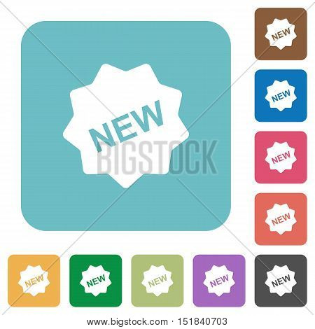 Flat new badge icons on rounded square color backgrounds.