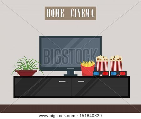 Home cinema. There is home cinema, curbstone, flower, 3D glasses, popcorn, french fries in the picture. Watch movies online concept. Vector flate illustration