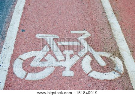 sign of cycling road and markings symbol
