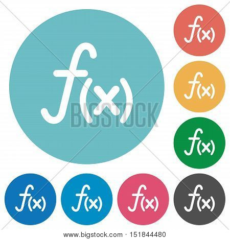 Flat function icon set on round color background.