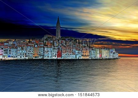 Sunset at Rovinj beautiful old town in Istria of Croatia Europe. This is HDR image.
