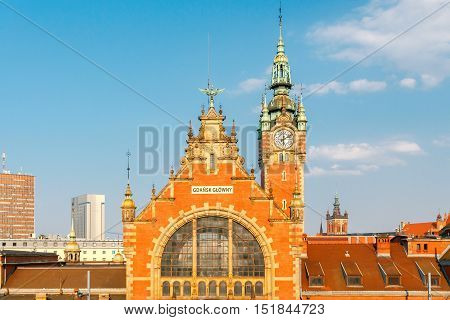 The old building of the main train station in Gdansk.