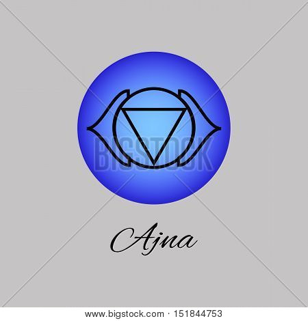 Ajna. Third eye chakra. Sixth Chakra symbol of human. Vector illustration. Element human energy system. Yogameditationreiki and buddhism color simbol.