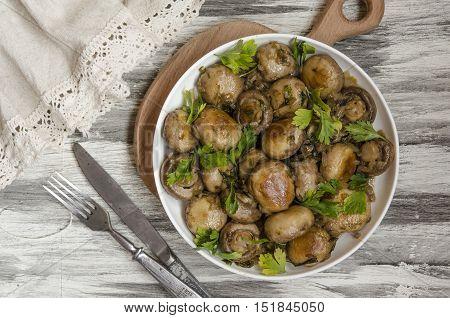 marinated mushrooms by Gordon Ramsay in balsamic vinegar
