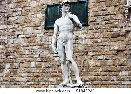 Copy of David by Michelangelo statue in Piazza della Signoria Florence Italy