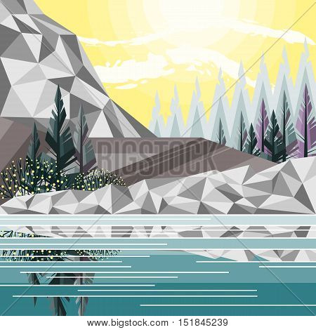Image of river beach, mountains, pine, dawn