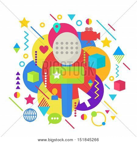 Abstract bright colorful multimedia mass media concept TV online show concept illustration