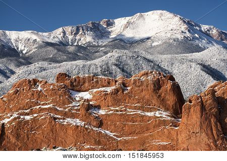 A winter view of Pike's Peak from the Garden of the Gods near Colorado Springs Colorado