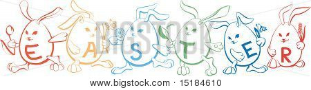 Set of Easter Bunnies in the shape of egg with letters E, A, S, T, E, R on them with a flowers in th