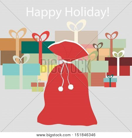 Poster for new year or Christmas lots of gifts and Santa's sack. Pattern to decorate greetings or scrapbook. Vector illustration