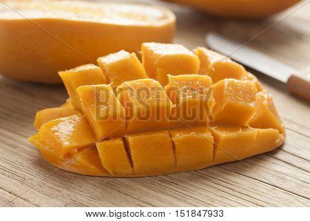 Fresh ripe juicy half yellow mango