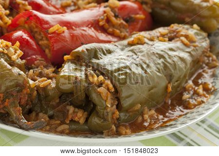 Traditional Moroccan dish with stuffed bell peppers and rice close up