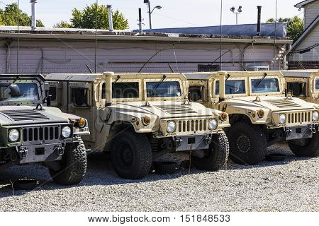 Kokomo - Circa October 2016: Humvee Multipurpose Vehicles lined up at the Indiana National Guard Armory I