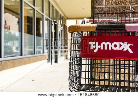 Kokomo - Circa October 2016: T.J. Maxx Retail Store Location. T.J Maxx is a discount retail chain featuring stylish brand-name apparel shoes and accessories IV