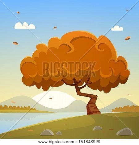 Autumn countryside cartoon landscape, lake and tree.