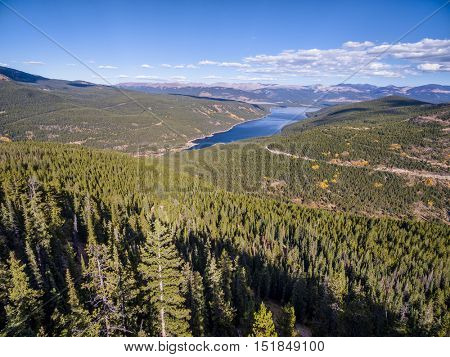 Turquoise Lake and Hagerman Pass road in Rocky Mountains near Leadville, COlorado -  aerial view