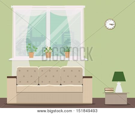 Living room in green color. Vector flat illustration. There is a sofa, a window, a lamp and other objects in the picture. There are pots with flowers on a windowsill