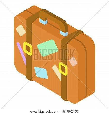 Brown suitcase with stickers icon. Isometric 3d illustration of suitcase vector icon for web