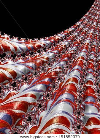 Abstract fractal background - computer-generated image. Digital art: diagonal pattern like curtain with textured surface. For posters, web design, covers.