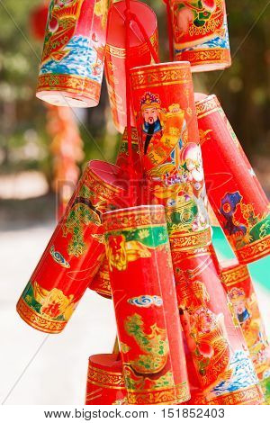 Red chinese New Year decorations. Symbols of luck and protection. Cambodia.