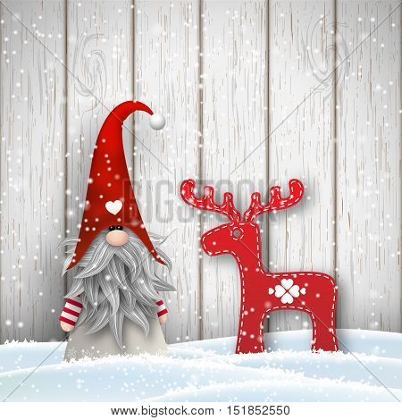Tomte standing in front of gray wooden wall in snow, with abstract decoration in shape of reindeer. Nisser in Norway and Denmark, Tomtar in Sweden or Tonttu in Finnish are scandinavian folklore elves, nordic christmas motive, vector illustration, eps 10