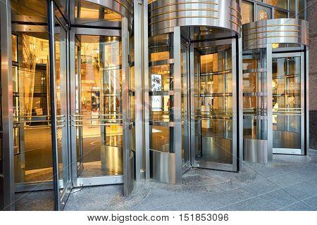 CHICAGO, IL - 04 APRIL, 2016: revolving doors at 900 North Michigan, Chicago. 900 North Michigan is a skyscraper in Chicago, Illinois, United States.